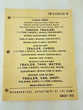 Trailer Chassis Cargo TM 9-2330-213-14 Water PLST M1076 1972 Tank Army