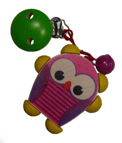 Hess Clipfigur Eule pink Kinderwagenkette Holz Spielzeug Mobile Kinderbett NEU
