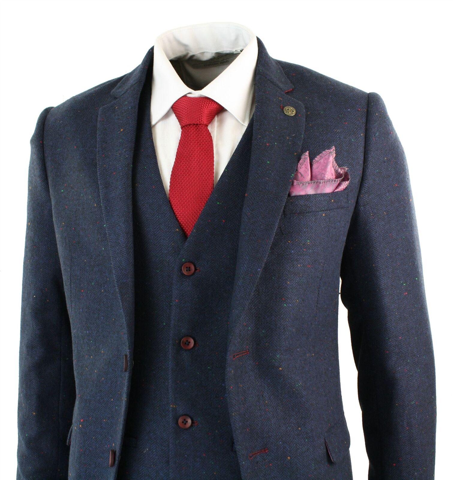 Herren 3 Piece Marc Darcy Tweed Retro Herringbone Navy Wine Trim Slim Fit Suit