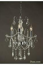 DUSX Charlotte Chrome Silver Crystal Glass French 3 Arm Chandelier Ceiling Light