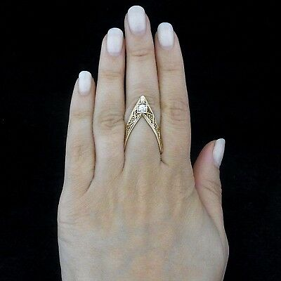Vintage Diamond 14k Yellow White Gold Filigree Tribal Knuckle Ring Estate