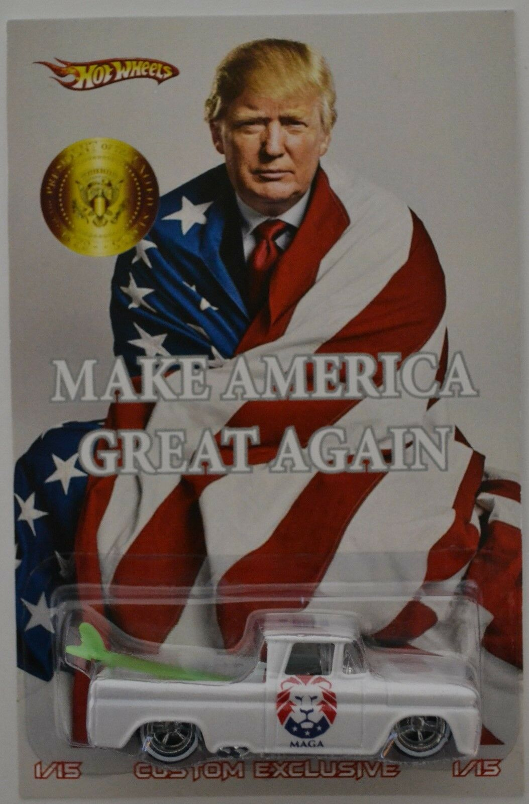 Eget'62 Chevy Egentillverkad REPLICA HW Riktiga ryttare LE Make America Great Igen