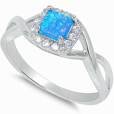BLUE AUSTRALIAN OPAL & CZ  Halo Setting .925 Sterling Silver Ring SIZES 5-10