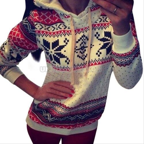 Women/'s Christmas Winter Hoodie Sweatshirt Jumper Sweater Hooded Pullover Tops