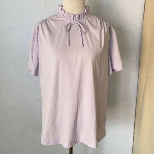 Graff Vintage Lilac Ruffled High Tie Neck Blouse,… - image 1