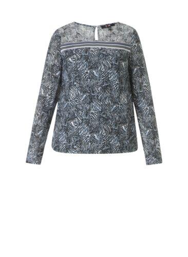 Yesta by X-Two Tunika Bluse blau petrol weiß Gummizug Damen grosse Grössen Shirt