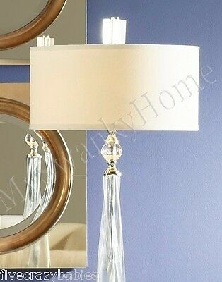 Contemporary TWISTED GLASS Nickel Silver Crystal Table Lamp Accent Modern