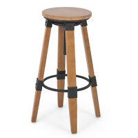 Rustic Breakfast Nook Home Bar Industrial Wood Adjustable Swivel Stool Backless