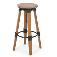Rustic Breakfast Nook Home Bar Industrial Wood Adjustable Swivel Stool Backless