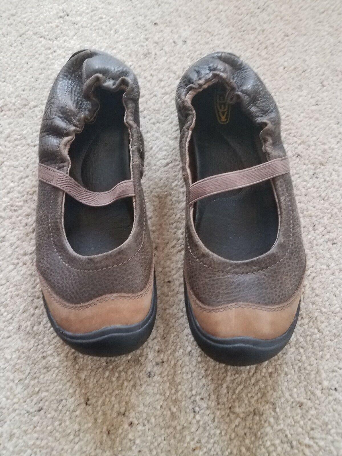Keen en Cuir Marron Chaussures Plates Mary Jane Chaussures confort FEMME 7.5 excellent état