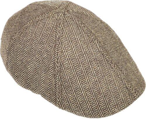Men/'s Herringbone Driving Cap Newsboy Flat Hat Cabbie Gatsby Ivy Brown//Beige
