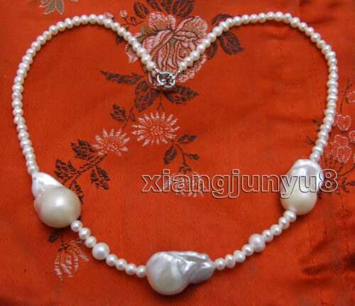 14*25mm White Baroque Nuclear Pearl Necklace Women 5mm Black Pearl 18/'/' Chokers