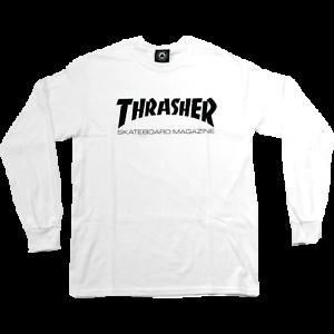 Thrasher Skateboard Magazine White Black Skate Mag Logo Longsleeve T-Shirt