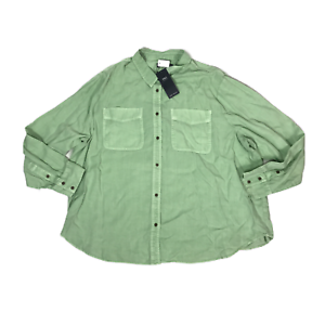 M-amp-S-Green-Tencel-Shirt-Size-22-Blouse-Button-Up-Patch-Pocket-Long-Sleeve