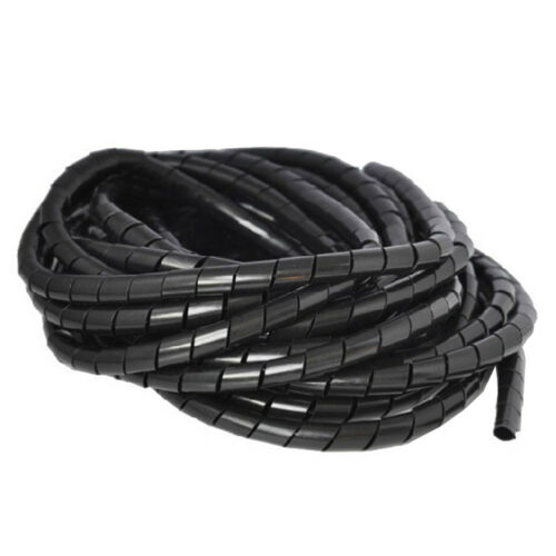 QA/_ 4-30mm Durable Black Wire Spiral Wrap Sleeving Band Tube Cable Protector E