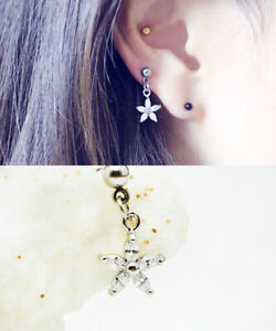 ebe9704097864 Details about 16g flower dangle cartilage earring, helix tragus labret ear  stud piercing, 1pc