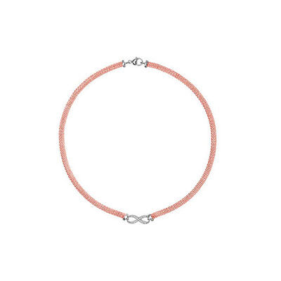 Tireless Sterling Silver Rose Matching Stone Set Infinity Necklet And Bracelet Set Invigorating Blood Circulation And Stopping Pains