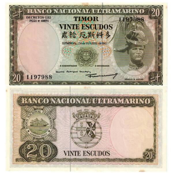 Pick 26a Timor 20 Escudos 1967 Unc.au/3624384vvv
