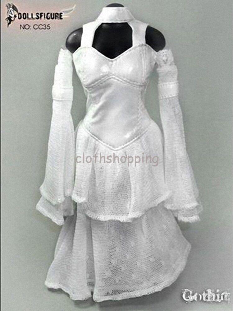 DOLLSFIGURE 1 6 Scale Female White Wedding Dress Suit Set F 12'' Action Figure