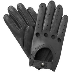 NEW-MEN-039-S-CHAUFFEUR-REAL-LAMBSKIN-SHEEP-NAPPA-LEATHER-DRIVING-GLOVES-BLACK
