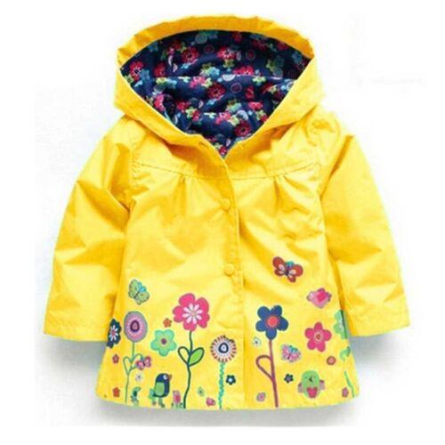 BABY GIRL RAIN MAC COAT SPRING SUMMER JACKET with HOOD WINDBREAKER FLOWER 18M-5Y