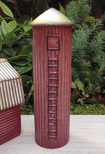 Miniature Dollhouse FAIRY GARDEN ~ Mini Red FARM Grain Silo w Silver Roof ~ NEW