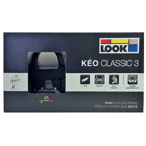 NEW-2018-LOOK-KEO-CLASSIC-3-Road-Pedals-with-Gray-Grip-Cleats-BLACK