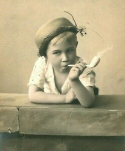 RPPC-1910-YOUNG-TROUBLEMAKER-PIPE-SMOKER-TODDLER