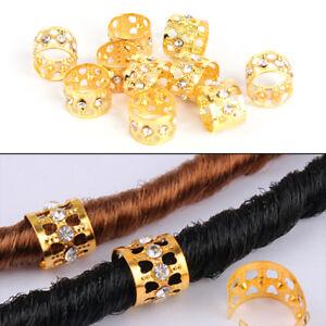10x-trenzado-anillos-de-pelo-rastas-Marley-trenzas-cuentas-clip-punos-rhinestone