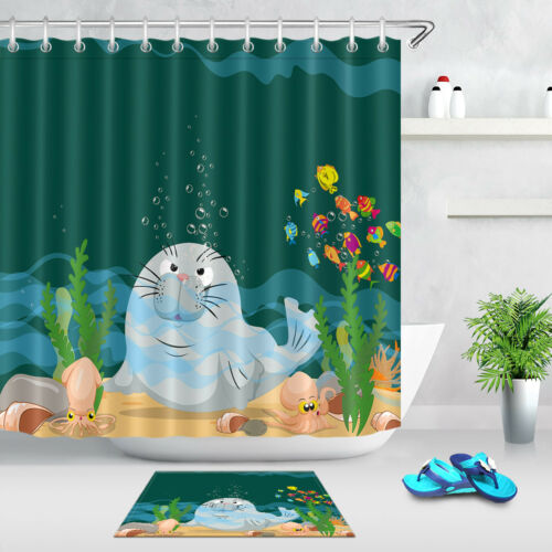 Hooks Tropical Beach Sea Lion Bow Bubbles Fabric Shower Curtain Set Ocean Theme