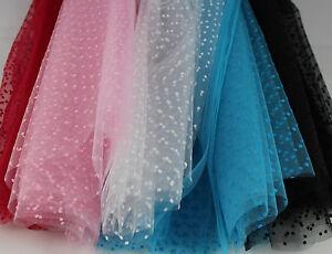 Flocked-Dot-Tulle-Fabric-100-Nylon-Tutu-Bridal-Wedding-Net-per-metre-140cm-wide