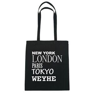 New York, Londres, Paris, Tokyo Weyhe - Sac En Toile De Jute - Couleur:noir