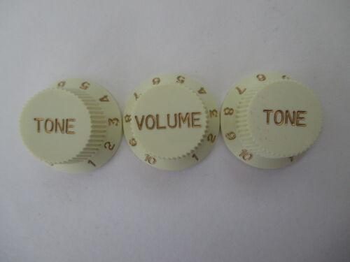 und 2 Tone Knöpfe Vintage weiß goldener Schriftzug 3x Strat Knopf im Set 1 Vol