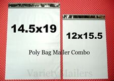 100 Poly Bag Mailer Combo 145x19 Amp 12x155 Large 25 Mil Quality Shipping Bags