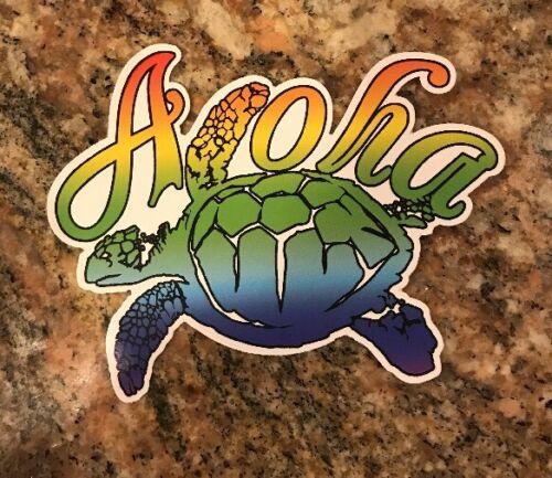 Aloha Sea Turtle Surf Surfing Beach Kona Maui Kauai Oahu Hawaii Sticker