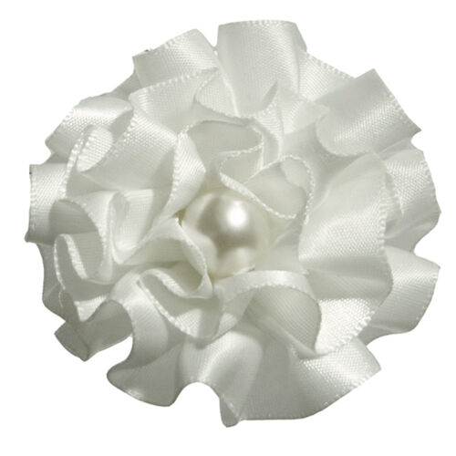 Broche mariage mariée cérémonie danse fleur froufrou satin perle Blanche