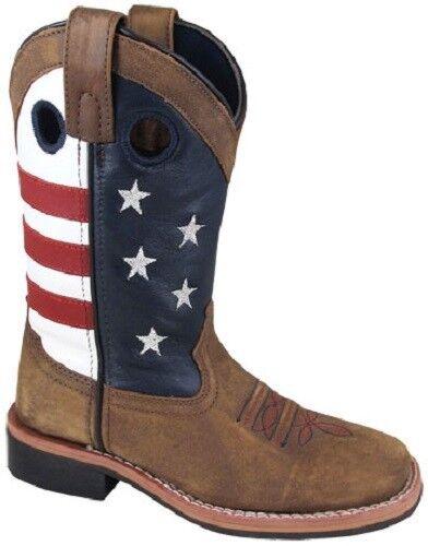 Smoky Mountain Kids Youth Braun Leder Roper Roper Leder Cowboy Stiefel Flag Stars ROT Blau 18b3b7