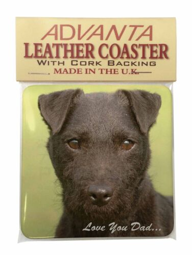 DAD-181SC Patterdale Terrier /'Love You Dad/' Single Leather Photo Coaster Animal