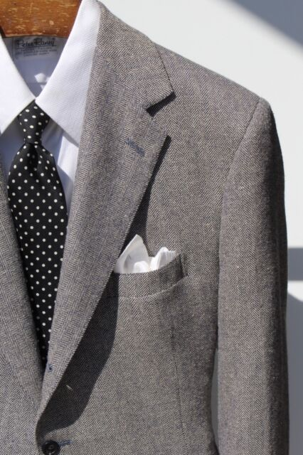 Polo Ralph Lauren 42R Grey Herringbone Three-Roll/2 Wool & Silk Sport Coat - USA
