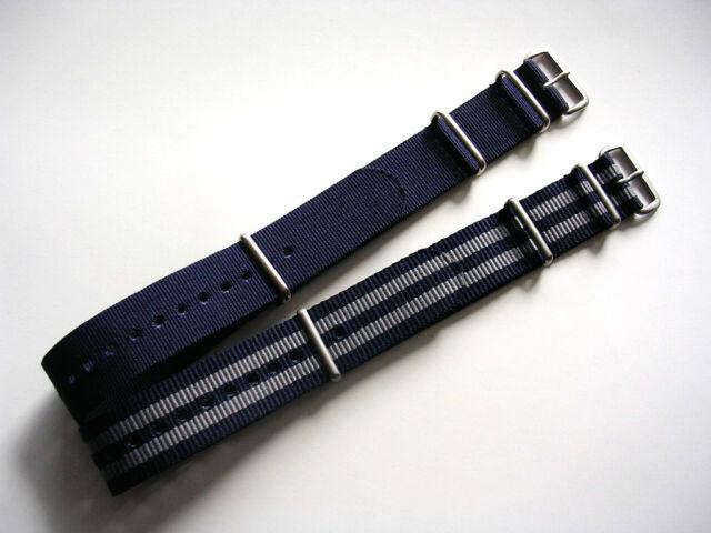 Blue-Grey NATO G10 Prem nylon watchband strap 2 pak Bond IW SUISSE 18 20 22 24mm