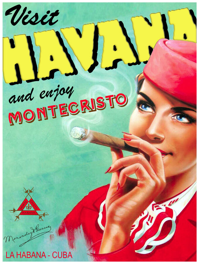829 Montecristo Cigar ad Art Decoration POSTER.Graphics to decorate home office.