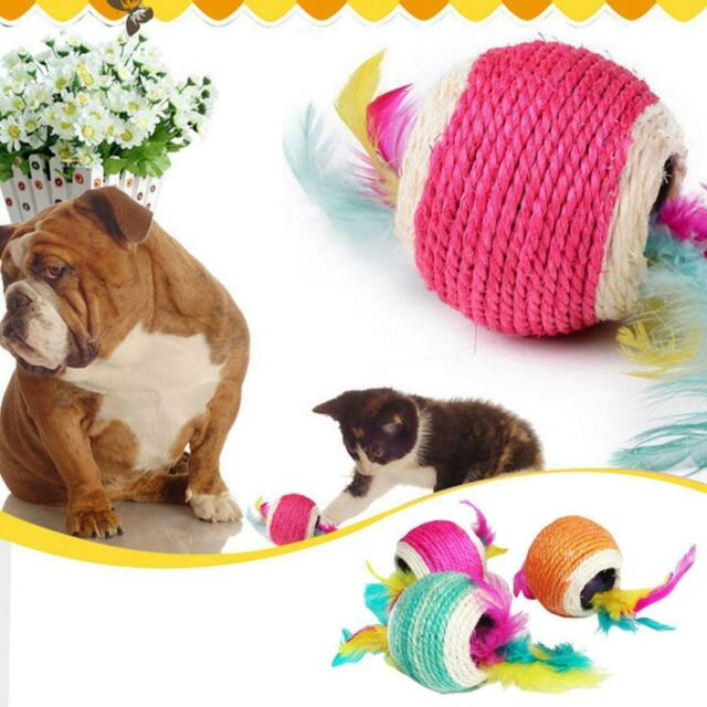 Sisal Rope Feather Ball Scratch Chew Play Toy Pet Kitten Cat Interactive Toy