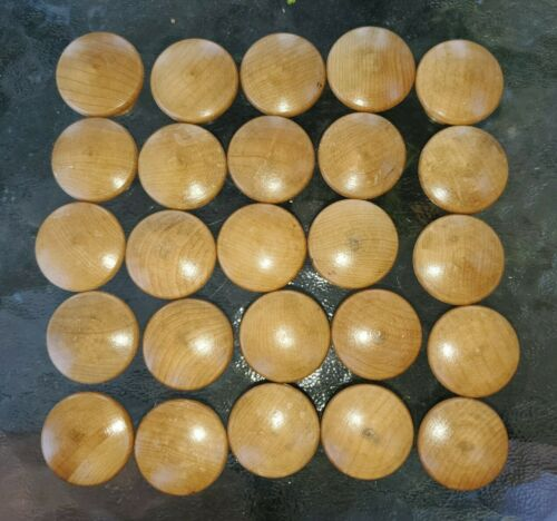 Lot of 25 Round Wood Mushroom Knobs for Cabinets Drawers Doors Wooden Pulls New.