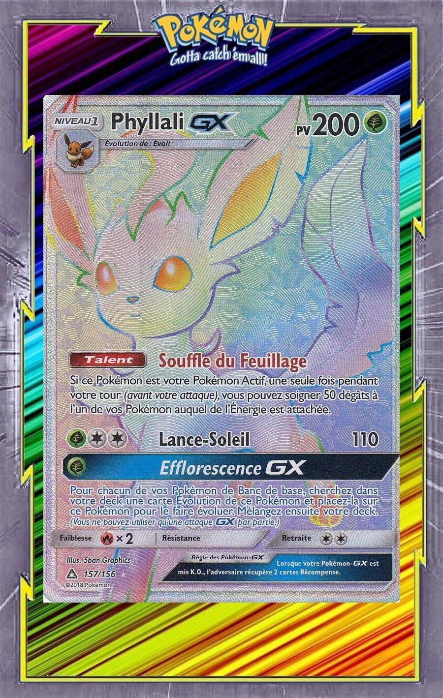 Phyllali gx - geheimnis - sl05  ultra - prisme - 157   156 - carte pokemon - fran ç aise