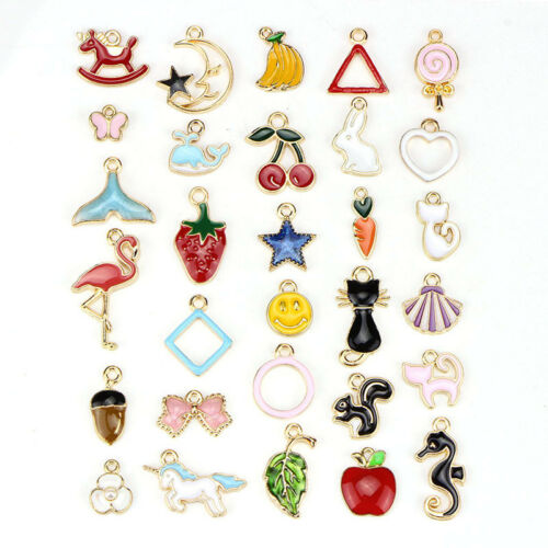 30PCS Mixed Enamel Beads Pendants Charms Craft DIY Jewelry Findings Pip US B NXI