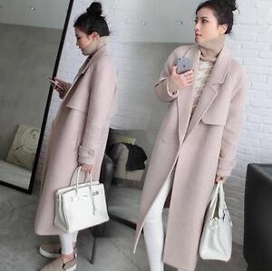 Parka Outwear Lapel Frakke Lang Sort Kvinder Wool Jacket Winter Overcoat Blend 8z4SF