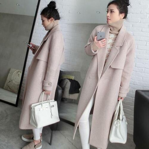 Sort Lang Overcoat Wool Jacket Outwear Lapel Kvinder Parka Frakke Blend Winter H6AHqg