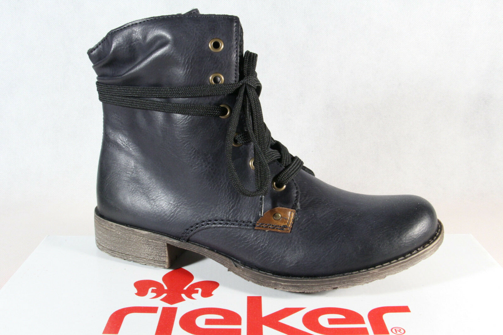 Rieker Women's Boots Ankle Lace up bluee 70829 New