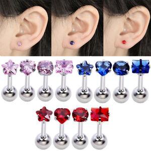 4-Pcs-Stainless-Steel-Body-Piercing-StarTragus-Helix-Cartilage-Ear-Stud-Earrings