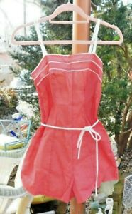Details about VINTAGE MID CENTURY EARLY 1960's RED WHITE POLKA DOT ROCKABILLY SWIMSUIT BATHI